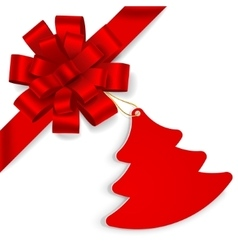 Red bow with christmas tree vector image vector image
