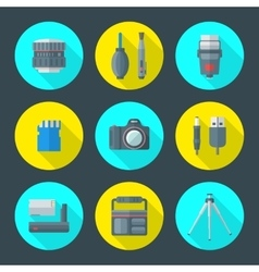 various photography goods icons vector image