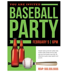 Baseball Party Template vector image vector image