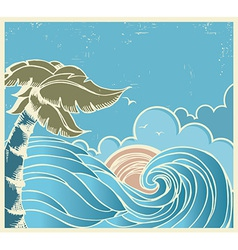 Blue seascape with big wave and sun on old poster vector image vector image