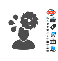 circular saw accident flat icon with free bonus vector image vector image