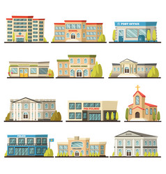 colored municipal buildings icon set vector image vector image
