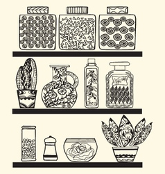 kitchen or pantry shelves with goods vector image