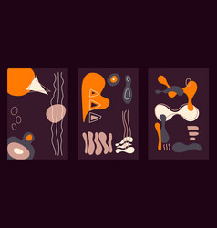 abstract dark vertical cards with hand drawn vector image