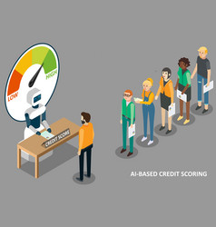 ai credit scoring isometric vector image