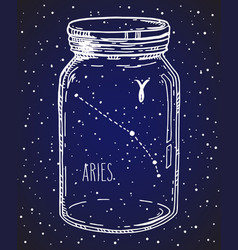 Aries zodiac sign hand drawn constellation in a vector