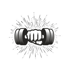 Arm with dumbbell gym fitness logo vector