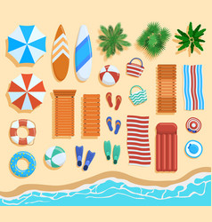beach elements top view sandy beach elements vector image