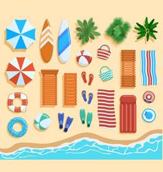 beach elements top view sandy elements vector image