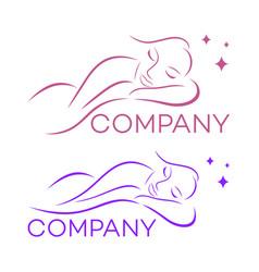 Beautiful sleeping woman logo vector