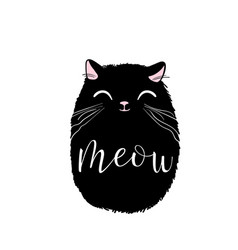Black cute cat print design meow lettering vector