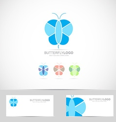 Blue butterfly logo vector image
