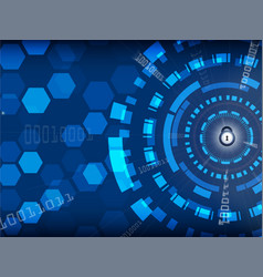 Blue cyber security background with lock and vector