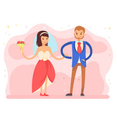bride and groom on wedding day ceremony dance vector image