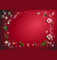 bright red holiday frame vector image