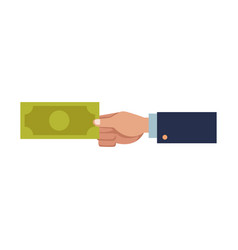 business hand man holding banknote dollar vector image