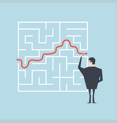 businessman drawing exit from labyrinth vector image