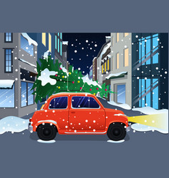 car carrying christmas tree vector image