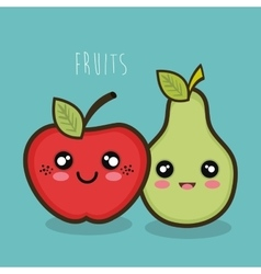 cartoon apple and pear facial expression graphic vector image