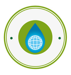 Circular frame with symbol saving water vector