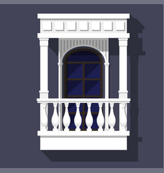 classic style balcony with balusters gables and vector image