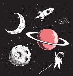 collection set of space elements vector image
