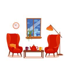 Colorful cozy interior in vector