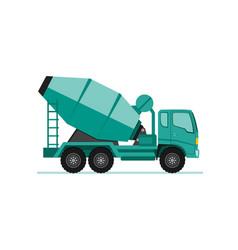 Concrete cement mixer truck icon in flat design vector