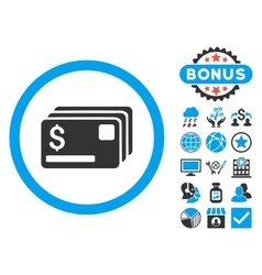 Credit Cards Flat Icon with Bonus vector image