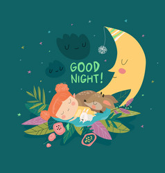 cute girl sleeping with deer and bunny among the vector image