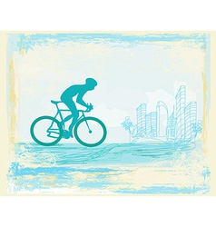 Cycling man silhouette on abstract Grunge Poster vector image vector image