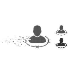 Decomposed pixel halftone captured man icon vector