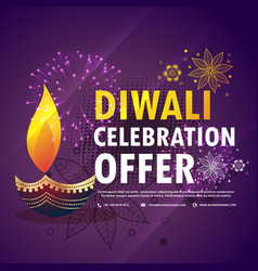 Diwali celebration offer with diya on purple vector