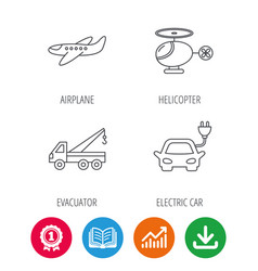 Electric car airplane and helicopter signs vector