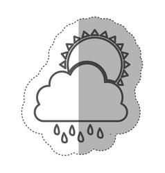 Figure cloud rainning with sun icon vector