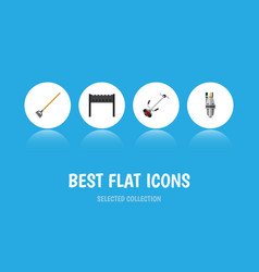 flat icon farm set of tool barbecue grass-cutter vector image