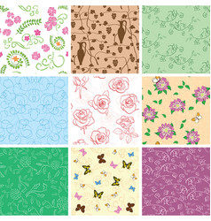 Flowers and butterflies on seamless patterns vector