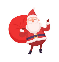 funny santa claus carrying full sack christmas vector image