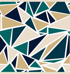 Geometric triangle pattern in teal and gold vector