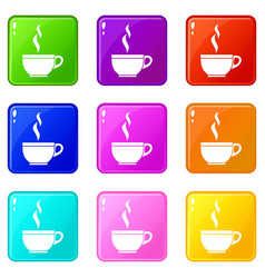 Glass cup of tea icons 9 set vector