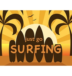 go surfing travel postcard different surfboard vector image