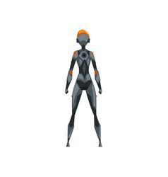 Gray female robot space suit superhero cyborg vector