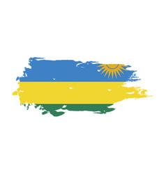 grunge brush stroke with rwanda national flag vector image