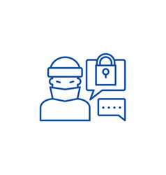 hacking access system line icon concept hacking vector image