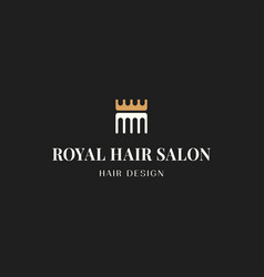 hair beauty salon logo comb with crown on black vector image