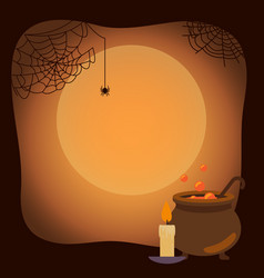 Halloween background with spider webs and vat vector