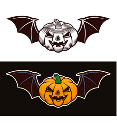 Halloween pumpkin with bat wings two styles vector