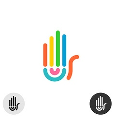 Hand colorful rainbow geometric linear style logo vector image