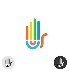 Hand colorful rainbow geometric linear style logo vector