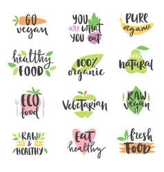 Hand drawn style set bio organic eco healthy vector
